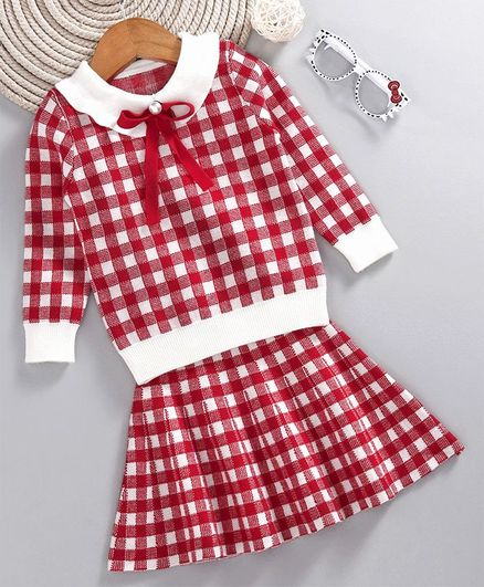 Kookie Kids Checked Full Sleeves Top With Checked Skirt Set - Red