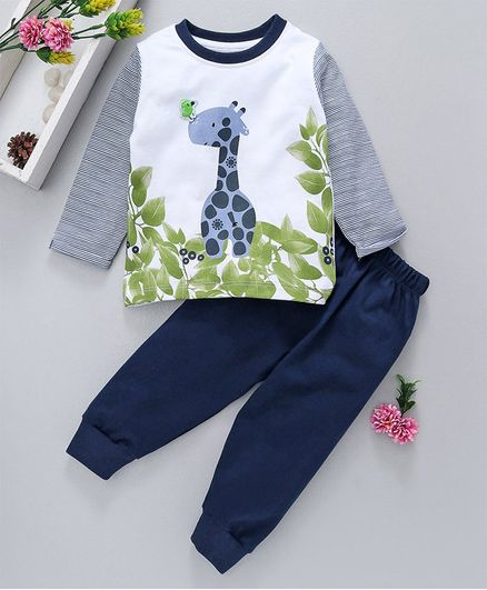 Cucumber Full Sleeves Tee & Lounge Pant Giraffe Print - Navy