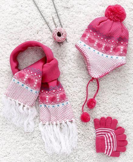 89b30ab41 Babyhug Woollen Cap Gloves   Muffler Set Heart Design Pink Online ...