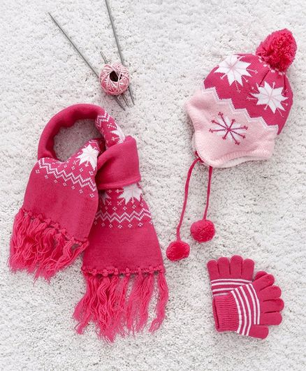 Babyhug Woollen Cap Gloves & Muffler Set Snow Pattern - Red