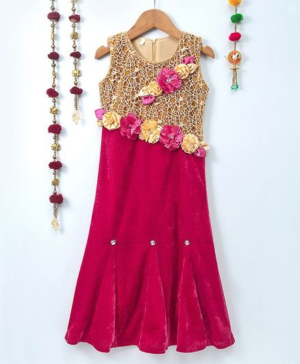Aarika Sleeveless Velvet Self Design Gown - Pink