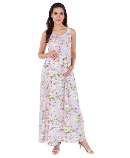 75d5e5b3fb4fa MomToBe Sleeveless Maternity Dress Flower & Leaf Print Blue Online ...