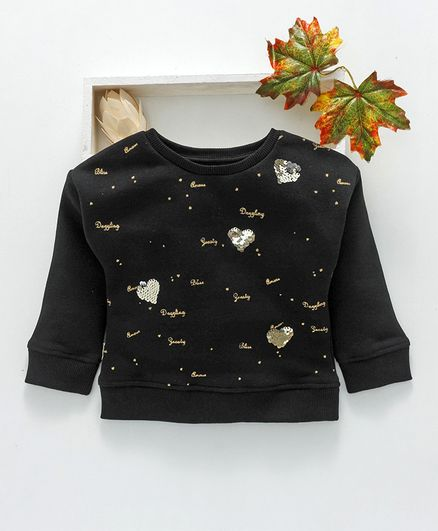 Vitamins Full Sleeves Winter Wear Tee Sequin Heart Design - Black