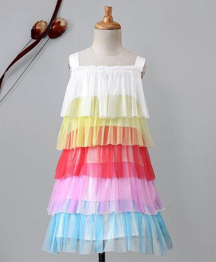 c660962e8 Buy Kidsdew Party Wear Sleeveless Layer Frock Multicolour for Girls ...