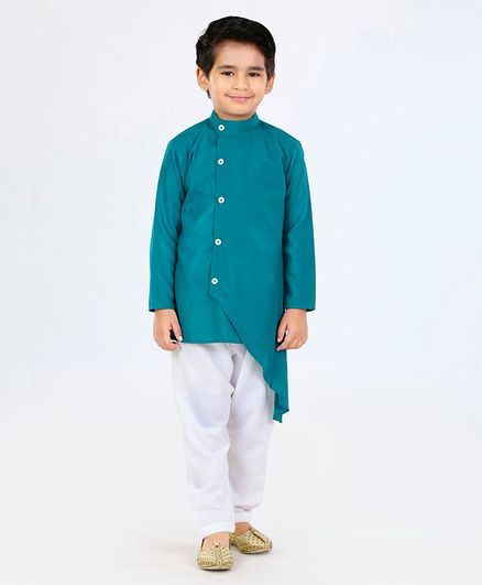 Ridokidz Solid Full Sleeves Kurta & Pajama Set - Green