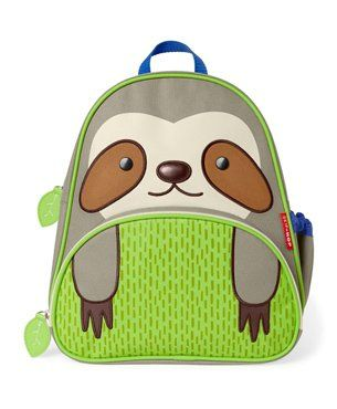 Skiphop Backpack Sloth Design Green - 11.8 Inches