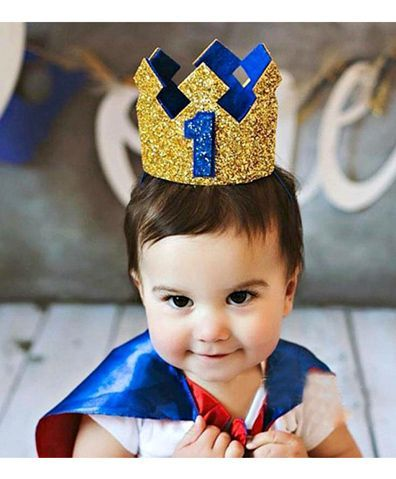18ebb8694d2 Ziory 1st Birthday Crown Head Piece Blue Golden Online in India