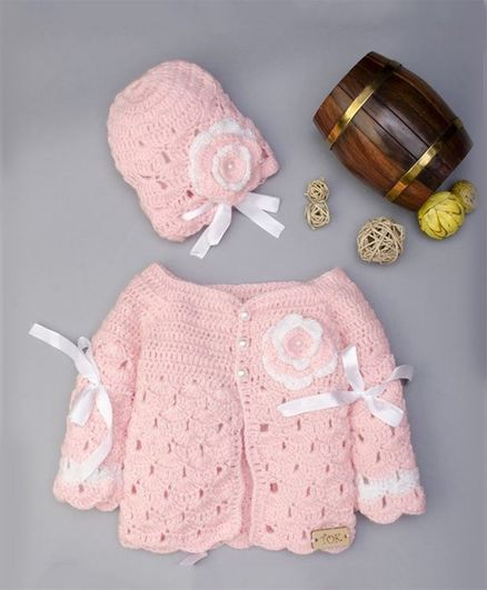 9b9cc5a03 Buy The Original Knit Flower   Ribbon Sweater With Cap Set Baby ...