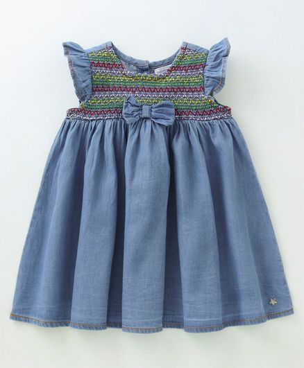 0375d531c7612 Buy Babyoye Flutter Sleeves Smocked Pattern Denim Frock Blue for Girls (2-3  Years) Online in India, Shop at FirstCry.com - 2376433