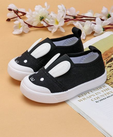 Cute Walk by Babyhug Canvas Casual Shoes Bunny Design - Black
