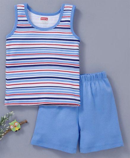 933e4ea7992b54 Buy Babyhug Cotton Sleeveless Stripe Night Wear White Blue for ...