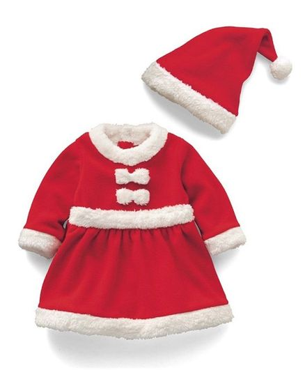 4fbebb2ccddf Buy Awabox Full Sleeves Santa Claus Theme Dress With Hat Red for ...