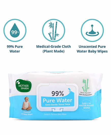 Mother Sparsh Unscented 99 Percent Pure Water Wipes Extra Gentle Sensitive Skin - 72 Pieces