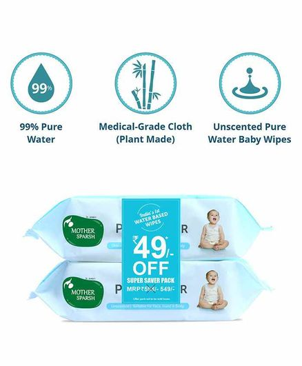Mother Sparsh 99 % Pure Water (Unscented) Baby Wipes. Pack of 2 - 72 Pieces Super Saver Pack