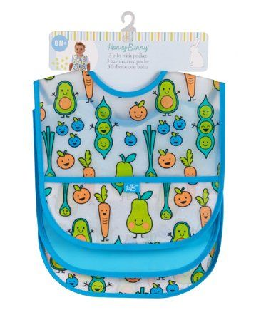 Honey Bunny Waterproof Bibs With Pocket Blue - Pack of 3