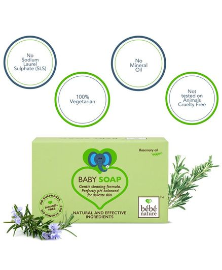 Bebe Nature Natural 100% Veg Baby Soap With Rosemary Oil  - 100 gm