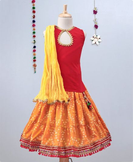 Kidcetra Bandhini Ghagra With Tie Back Sleeveless Choli And Dupatta Set - Yellow & Red
