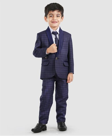 78a11c8853bf1 Buy Dews Burry 3 Pcs Checks Party Wear Suit With Tie Navy Blue for Boys  (1-2 Years) Online in India, Shop at FirstCry.com - 2399895