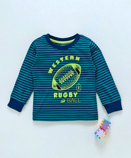 5204270eda4f Buy Cucumber Full Sleeves Striped Tee Rugby Print Blue for Boys (2 ...