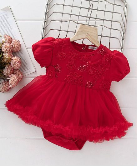 Mark & Mia Sequin Work Short Sleeves Onesie Dress - Red