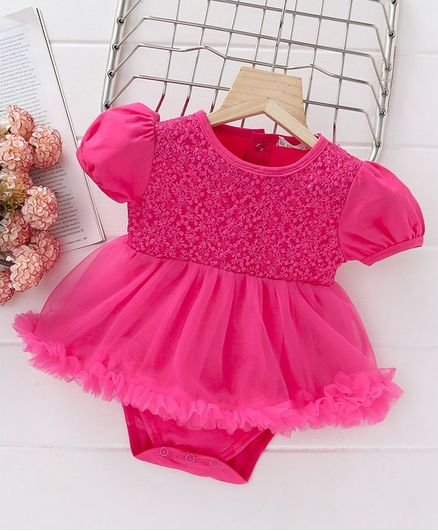 66d79132ebed5 Buy Mark & Mia Flower Embroidered Short Sleeves Onesie Dress Pink for Girls  (9-12 Months) Online in India, Shop at FirstCry.com - 2407200