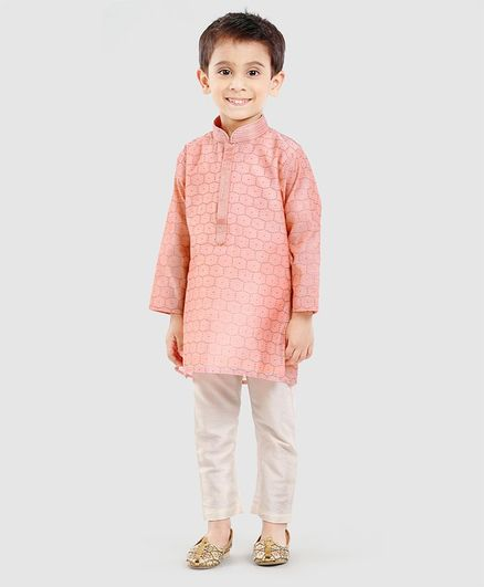 b365d217275 Buy Dapper Dudes Full Sleeves Kurta Pajama Set Pink for Boys (6-12 ...