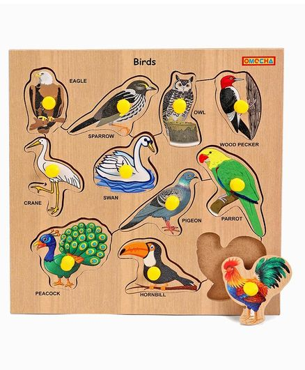 Playmate Wooden Birds Puzzle With Pegs (Color May Vary)