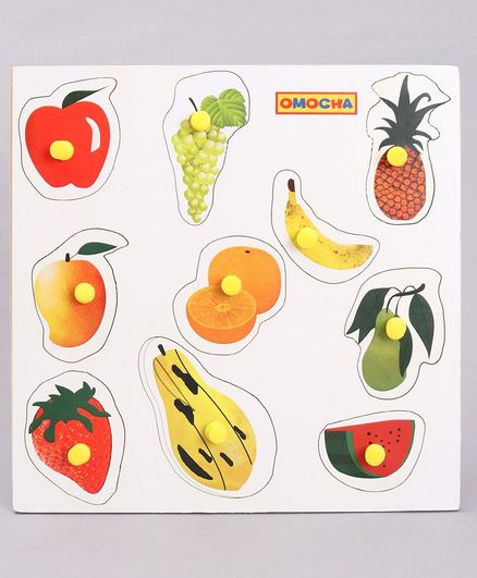 Omocha Wooden Fruits Puzzle With Pegs - Multicolour