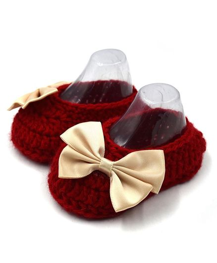 Magic Needles Bow Applique Booties - Maroon