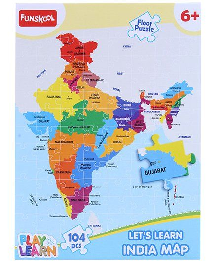 Funskool Learn India Map Puzzle 104 Pieces Online India, Buy Puzzle Games &  Toys for (6-12 Years) at FirstCry.com - 241651