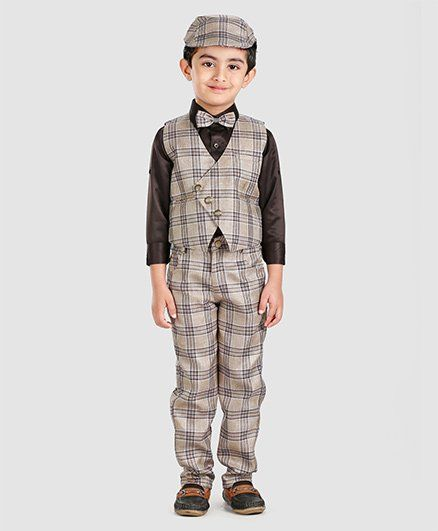 96c329600e Buy Rikidoos 3 Pcs Party Wear Suit With Cap Brown for Boys (6-7 ...