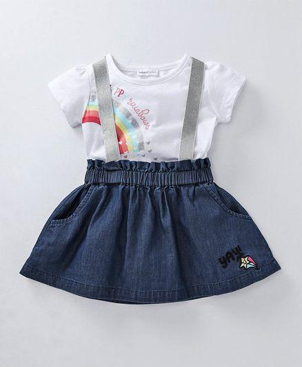f31e783f35b8 Babyoye Cotton Skirt with Suspenders & Top Rainbow Print - Blue White
