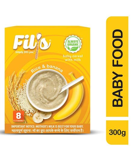 Fil's Organic Baby Cereal With Milk Rice & Banana - 300 gm