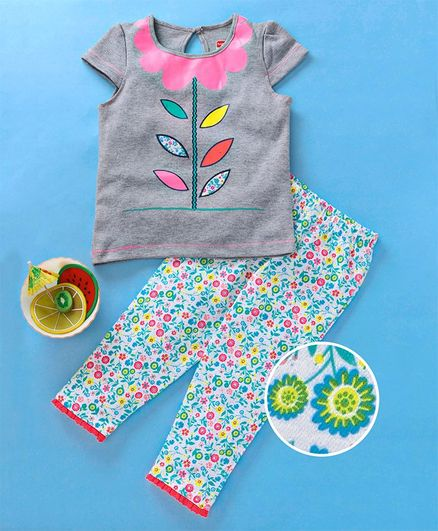 Babyhug Half Sleeves Tee With Lounge Pant Floral Print - Grey