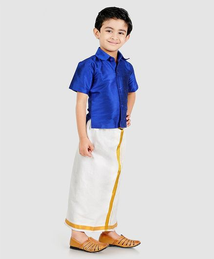 Babyhug Half Sleeve Shirt & Mundu Set - Blue White