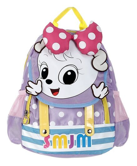 SMJM Cartoon Graphic School Bag Purple - 11.8 Inches