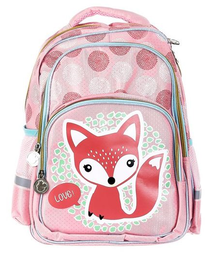 SMJM Fox Printed School Bag Pink - 15.7 Inches