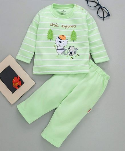 Child World Winter Wear Striped Tee And Lounge Pant Bear Patch - Green