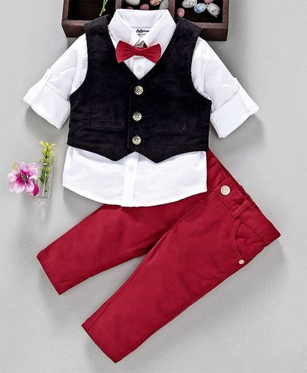 16a4559bbb4a7 Buy ToffyHouse 3 Piece Party Suit With Bow Tie White Red for Boys ...