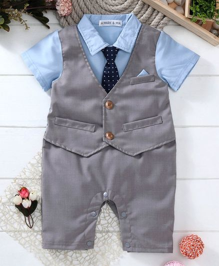 Mark & Mia Half Sleeves Mock Party Suit Romper With Tie - Light Blue Grey