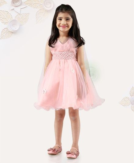 70f29c9d3a Buy Mark & Mia Sleeveless Frock With Flower Applique Peach for Girls (18-24  Months) Online in India, Shop at FirstCry.com - 2445128
