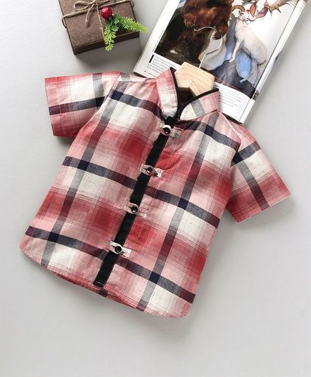 Knotty Kids Short Sleeves Checkered Shirt - Pink
