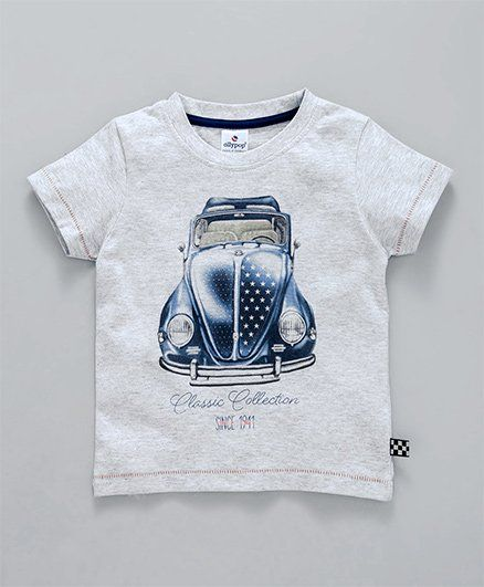 Ollypop Half Sleeves Tee Car Print - Grey