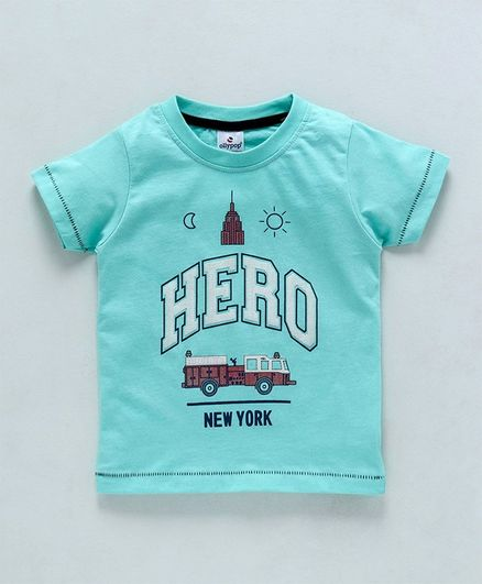 Ollypop Half Sleeves Tee Hero Print - Sea Green