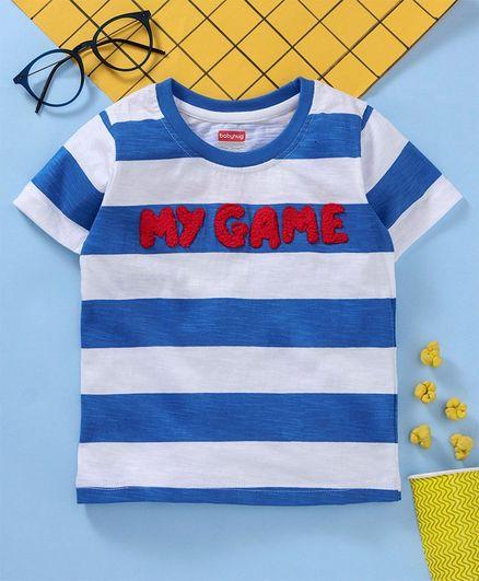ead1424901bf Buy Babyhug Half Sleeves Striped T Shirt Blue White for Boys (12-18 ...