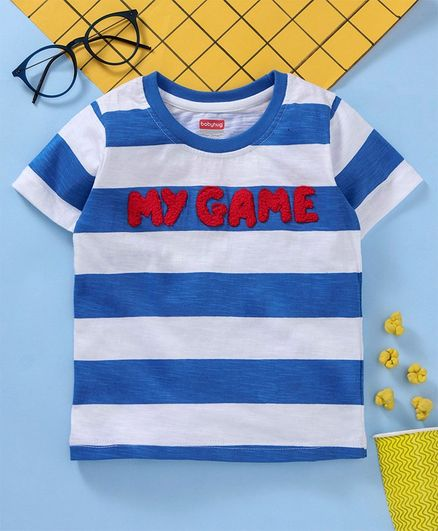 9d720f45d6 Buy Babyhug Half Sleeves Striped T Shirt Blue White for Boys (4-5 ...