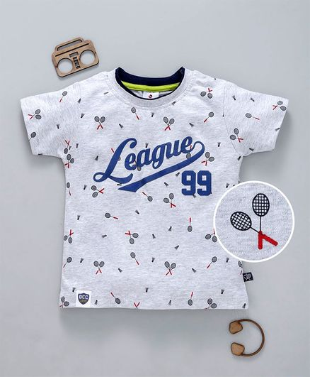 Ollypop Half Sleeves Tee League Print - Light Grey