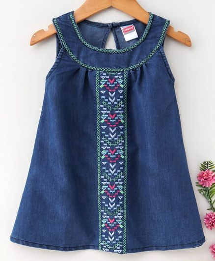 4ed286e7c72 Buy Babyhug Sleeveless Embroidered Denim Frock Dark Blue for ...