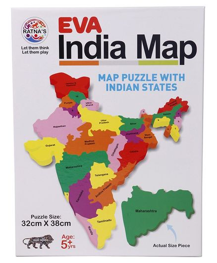 Ratnas Indian Map Jigsaw Puzzle Multicolour 29 Pieces Online India ...