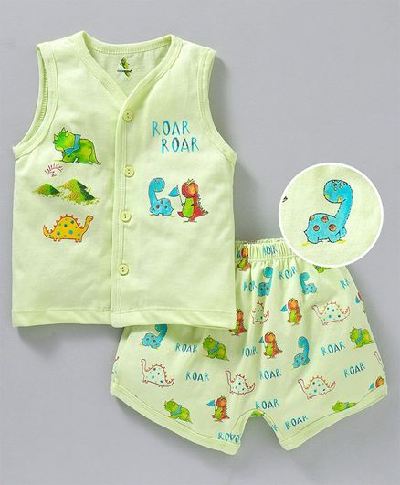 e8a38931 Cucumber Sleeveless Vest With Shorts Dino Print - Light Green. 12 to ...
